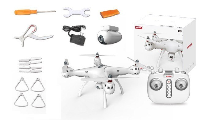 Syma X8 Pro (GPS, kamera FPV 1MP WiFi, 2.4GHz, headless, zasięg do 70m, 50cm)